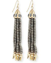 Lulu Frost - Beaded Metallic Tassel Drop Earrings - Lyst