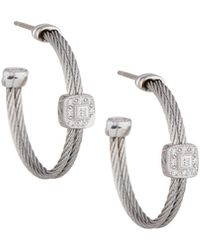Alor - Classique Gray Steel & 18k Diamond Cable Hoop Earrings - Lyst