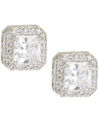 Fantasia by Deserio - Octagonal Pave Crystal Stud Earrings - Lyst