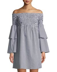 Romeo and Juliet Couture - Striped Off-the-shoulder Bell-sleeve Dress - Lyst