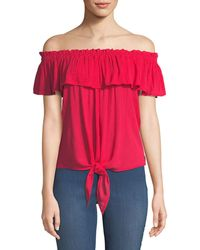 Dex - Off-the-shoulder Tie-hem Blouse - Lyst