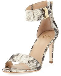Zac Zac Posen - Lucy Snake-embossed Leather Ankle-strap Sandals - Lyst