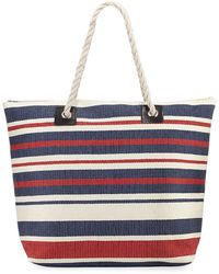 San Diego Hat Company | Woven Striped Straw Tote Bag With Rope Handles | Lyst
