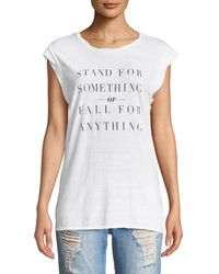Pam & Gela - Frankie Stand For Something Crewneck Sleeveless Jersey Tee - Lyst