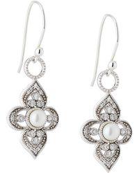 Jude Frances | 18k Provence Pearl & Diamond Flower Earrings | Lyst