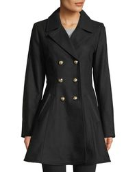 Laundry by Shelli Segal - Double-breasted Military Fit & Flare Coat - Lyst