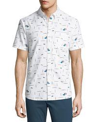 Original Penguin - Short-sleeve Paint Brush Printed Shirt - Lyst