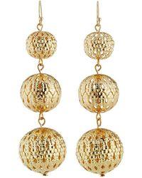 Kenneth Jay Lane - Golden Triple Drop Earrings - Lyst