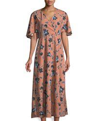 Haute Rogue - Floral Bat-sleeve Maxi Dress - Lyst