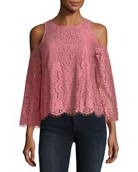 Joie - Abay Lace Cold-shoulder Top - Lyst