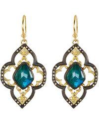 Armenta - Old World Malachite/rainbow Moonstone Scroll Earrings - Lyst