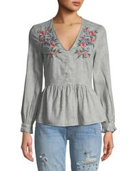 Haute Rogue - Tully Embroidered V-neck Peplum Blouse - Lyst