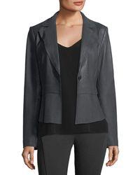 Elie Tahari - Sally Topstitched Leather Jacket - Lyst