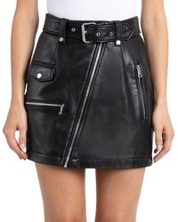 Bagatelle - Belted Leather Moto Pencil Skirt - Lyst