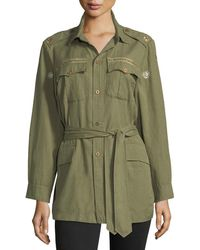 LoveShackFancy - Tie-waist Army Shirt Jacket - Lyst