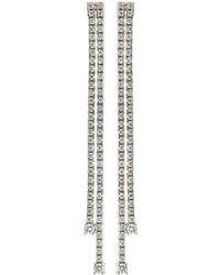 Neiman Marcus - 18k White Gold Diamond Double Drop Earrings - Lyst