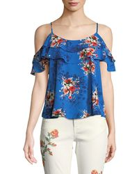 Dex - Cold-shoulder Floral Crepe Blouse - Lyst