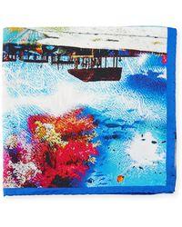 Bugatchi - Tropical-print Silk Pocket Square - Lyst