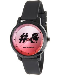 Karl Lagerfeld - 37mm Camille Silicone Watch Pink/black - Lyst
