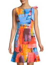 Donna Ricco - Printed Shoulder-bow Flounce Hem Dress - Lyst