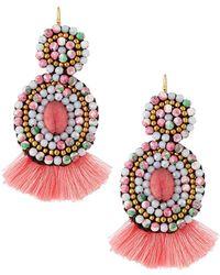Panacea | Mixed Stone Circle Drop Earrings | Lyst