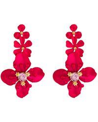 Fragments - Triple Flower Drop Earrings - Lyst