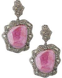 Bavna - Diamond & Glass Ruby Drop Earrings - Lyst