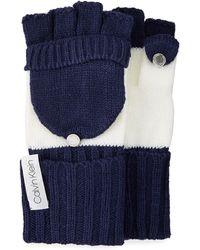 Calvin Klein - Colorblock Flip-top Knit Gloves - Lyst