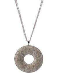 Bavna - Black Silver Pave Diamond Circle Pendant Necklace - Lyst