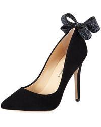Neiman Marcus - Verity Glitter Bow-heel Suede Pumps - Lyst