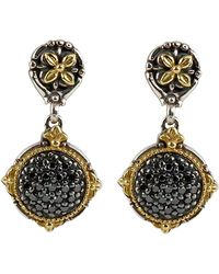 Konstantino | Asteri Pave Black Diamond Round Double-drop Earrings | Lyst