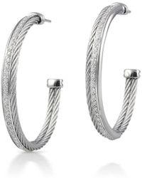 Alor - 18k Cable & Diamond Pave Hoop Earrings - Lyst