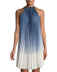 Max Studio - Pleated Ombre High-neck Dress - Lyst