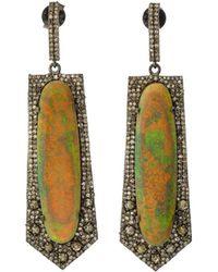Bavna - Black Silver Spike Drop Earrings With Compressed Opal & Diamonds - Lyst