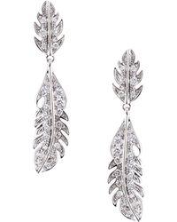 Mimi So - Phoenix 18k Pave Diamond Feather Drop Earrings - Lyst