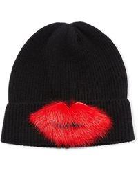 Neiman Marcus - Fur Lips Cashmere Beanie - Lyst