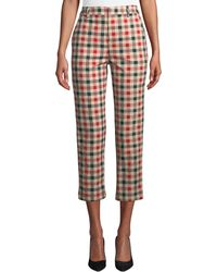 English Factory - Gingham Checked Cropped Trousers - Lyst