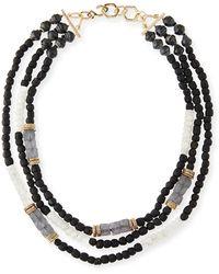 Akola - Three-strand Beaded Moonstone Necklace - Lyst