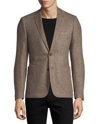 1 Like No Other - Cotton/linen Knit Two-button Blazer Camel - Lyst