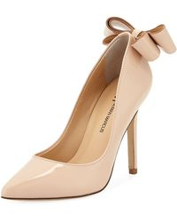 Neiman Marcus - Verity Patent Leather Bow Pumps - Lyst