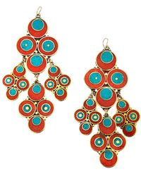 Devon Leigh - Coral & Turquoise Chandelier Earrings - Lyst