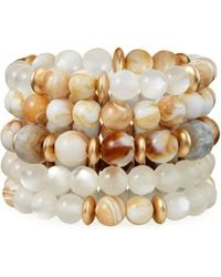 Lydell NYC - Layered Bead Bracelet Neutral - Lyst