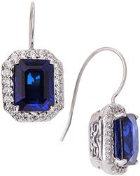 Fantasia by Deserio - Cz Pave & Synthetic Sapphire Earrings - Lyst