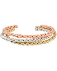 A.V. Max - Tricolor Golden Twist Cuff Bracelets - Lyst
