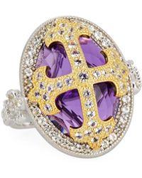 Jude Frances - Fleur Cross-over Stone Ring With Amethyst Quartz - Lyst