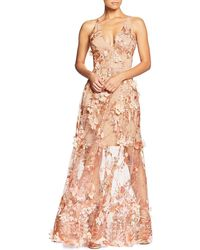 Dress the Population - Sidney Floral-appliqué Illusion-skirt Gown - Lyst