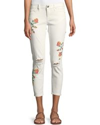 Dex - Cross-stitched Embroidered Super Skinny Jeans - Lyst
