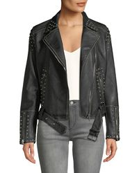 Dex - Studded Asymmetric Belted Moto Jacket - Lyst