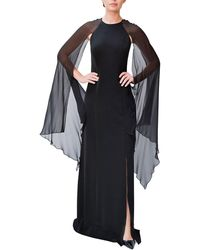 Mikael Aghal - Crepe Slit Gown W/ Chiffon Sleeve Detail - Lyst