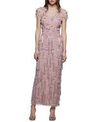 David Meister - Cap-sleeve 3-d Floral & Tassels Embroidered Long Formal Dress - Lyst
